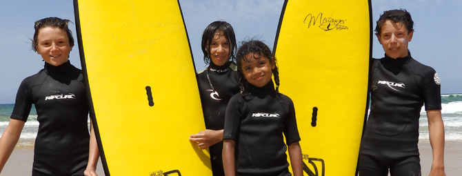 Surf course on the beach